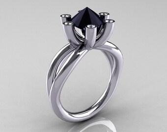 Modern Russian 18K White Gold 2.0 Carat Black Diamond Bridal Ring RR111-18KWGDBD