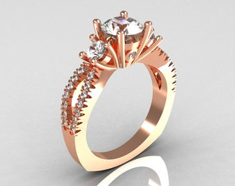 Modern French Bridal 18K Rose Gold Three Stone 1.0 Carat Zircon Accent Diamond Engagement Ring R140-18RGDZ