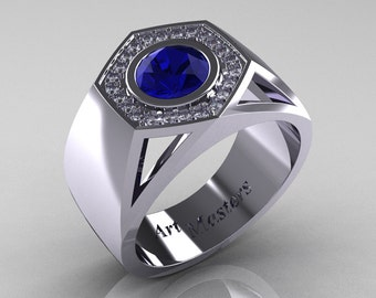 Gentlemens Modern 14K White Gold 1.0 Carat Blue Sapphire Diamond Celebrity Engagement Ring MR161-14KWGDBS