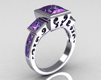 Classic Bridal 14K White Gold 2.5 Carat Square Three Stone Princess Alexandrite Ring R315-14WGAL