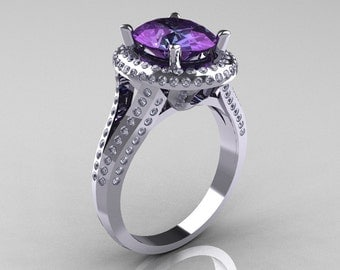 French Bridal 18K White Gold 2.5 Carat Oval Alexandrite Diamond Cluster Engagement Ring R164-18KWGDAL