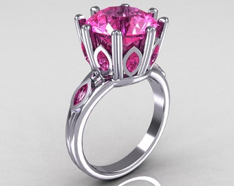 Classic 10K White Gold Marquise and 5.0 CT Round Pink Sapphire Solitaire Ring R160-10KWGPSS