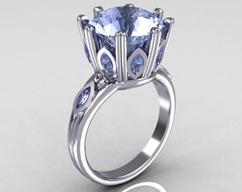 Classic 14K White Gold Marquise and 5.0 CT Round Blue Topaz Solitaire Ring R160-14KWGBTT