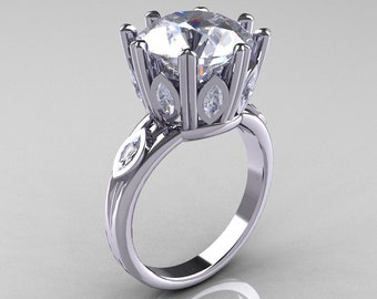 Classic 14K White Gold Marquise and 5.0 CT Round Zirconia Solitaire Ring R160-14KWGCZZ