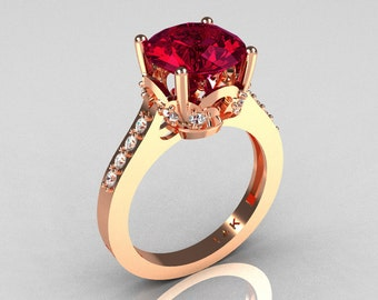 Classic 14K Rose Gold 3.0 Carat Burgundy Garnet Diamond Solitaire Wedding Ring R301-14KRGDBG