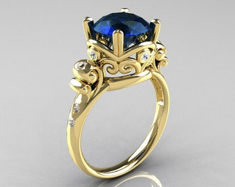 Modern Vintage 18K Yellow Gold 2.5 Carat London Blue Sapphire Diamond Wedding, Engagement Ring R167-18KYGDLBS
