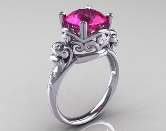 Modern Vintage 14K White Gold 2.5 Carat Pink Sapphire Diamond Wedding, Engagement Ring R167-14KWGDPS