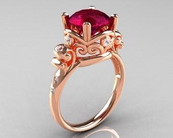 Modern Vintage 18K Rose Gold 2.5 Carat Burgundy Garnet Diamond Wedding, Engagement Ring R167-18KRGDBG