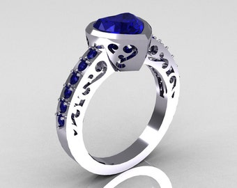 Classic Bridal 14K White Gold 2.0 Carat Heart Blue Sapphire Ring R314-14WGBS