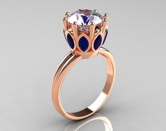 Modern Antique 14K Rose Gold Marquise Blue Sapphire and 2.0 CT Round Zirconia Solitaire Ring R90-2-14KRGBSCZ
