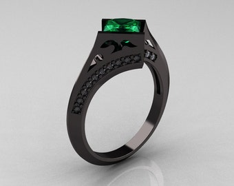 Exclusive French 14K Black Gold 1.23 CT Princess Emerald Diamond Engagement Ring R176-14BGDEM