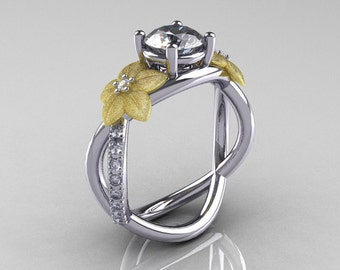 Nature Classic 18K Two-Tone Gold 1.0 CT White Sapphire Diamond Leaf and Vine Engagement Ring R180-18KTTWYGDWS