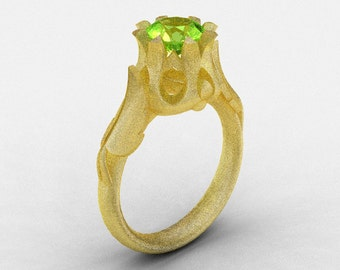 Natures Nouveau 14K Yellow Gold Peridot Wedding Ring, Engagement Ring NN105-14KYGSP