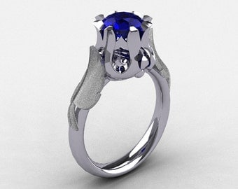 Natures Nouveau 14K White Gold Blue Sapphire Wedding Ring, Engagement Ring NN105-14KWGBS