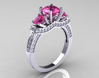French 18K White Gold Three Stone Pink Sapphire Diamond Wedding Ring, Engagement Ring R182-18KWGDPS