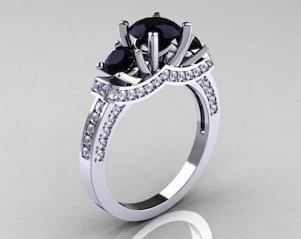 French 14K White Gold Three Stone Black and White Diamond Wedding Ring, Engagement Ring R182-14KWGDBD