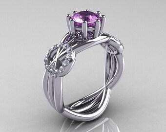 Modern Bridal 10K White Gold 1.0 CT Lilac Amethyst Diamond Designer Ring R181-10KWGDLA