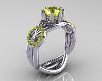 Modern Bridal 14K White Gold 1.0 CT Yellow Topaz Ring R181-14KWGYT