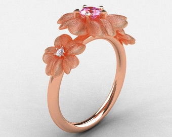 Natures Nouveau 14K Rose Gold Light Pink Sapphire Diamond Flower Engagement Ring NN107S-14KRGDLPS