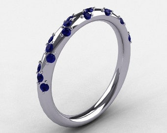 French Bridal 14K White Gold Blue Sapphire Wedding Band R185B-14KWGBS