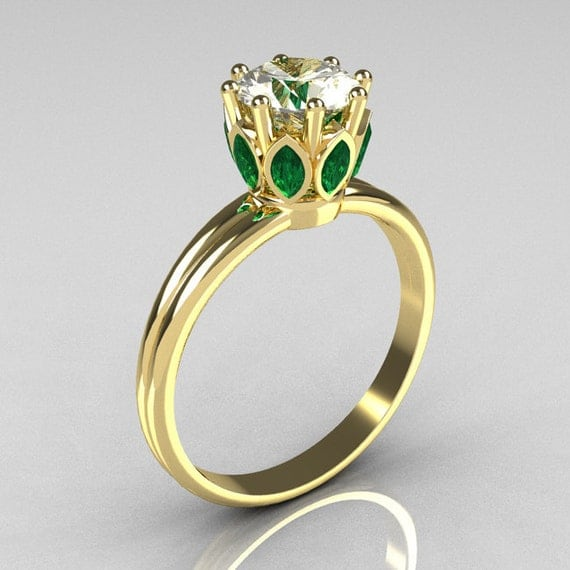Modern Antique 10K Yellow Gold Marquise Emerald 1.0 CT Round Zirconia Solitaire Ring R90-10KYGCZEM