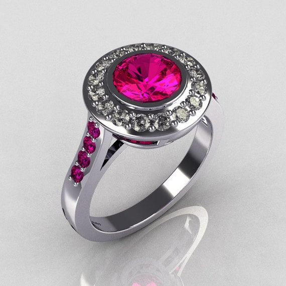 Items similar to Classic Brilliant Style 10K White Gold 1 0 Carat Round Pink