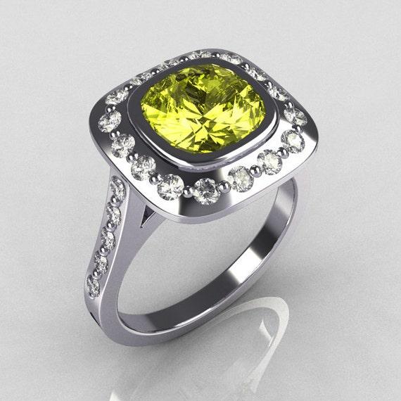 Classic Legacy Style 14K White Gold 2.0 Carat Cushion Cut Yellow Topaz Diamond Engagement Ring R60-14KWGDYT