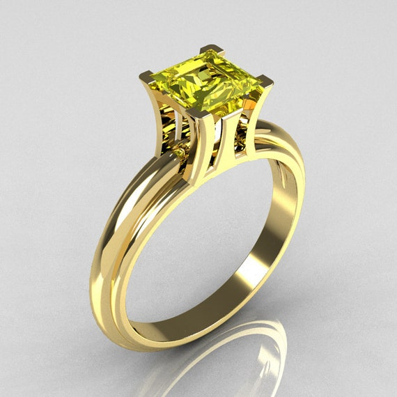 Modern Italian 14K Yellow Gold 1.0 Carat Princess Cut Citrine Solitaire Ring R98-14KYGCI