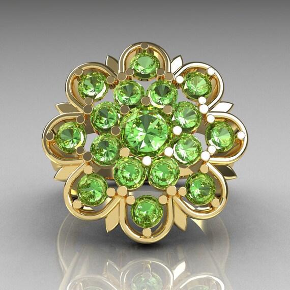 Modern Edwardian 14K Yellow Gold Green Peridot Flower Ring R609-14KYGPDD