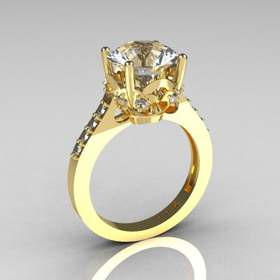 French Bridal 14K Yellow Gold 3.0 Carat CZ Diamond Solitaire Wedding Ring R301-14YGDCZ