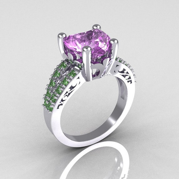 Items similar to Modern French Bridal 10K White Gold 3 0 Carat Heart Lilac Am