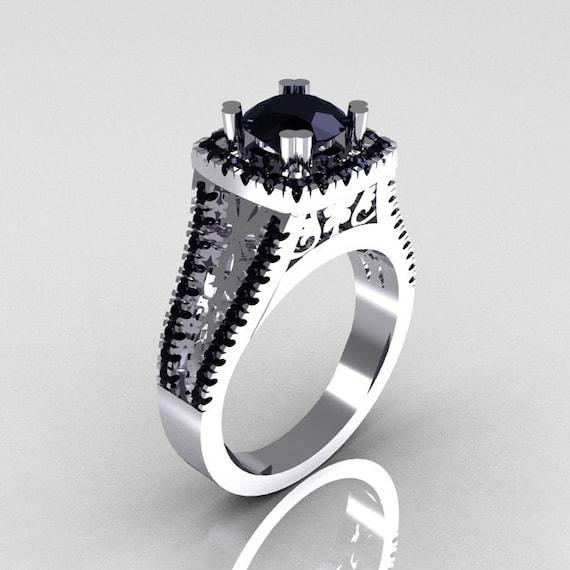 Modern Armenian Vintage 950 Platinum 1 0 Carat Black Diamond