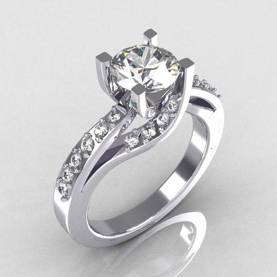 Modern Bridal 14K White Gold 1.0 Carat CZ Diamond Solitaire Ring R145-14WGDCZ