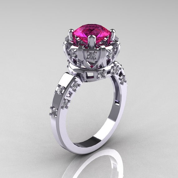 Items similar to Modern Antique 14K White Gold 1 5 Carat Pink Sapphire Diamon
