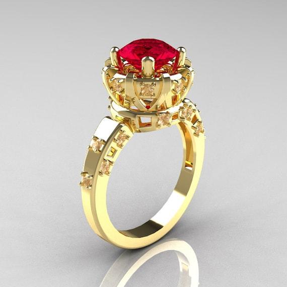 Modern Antique 10K Yellow Gold 1 5 Carat Ruby Diamond Classic