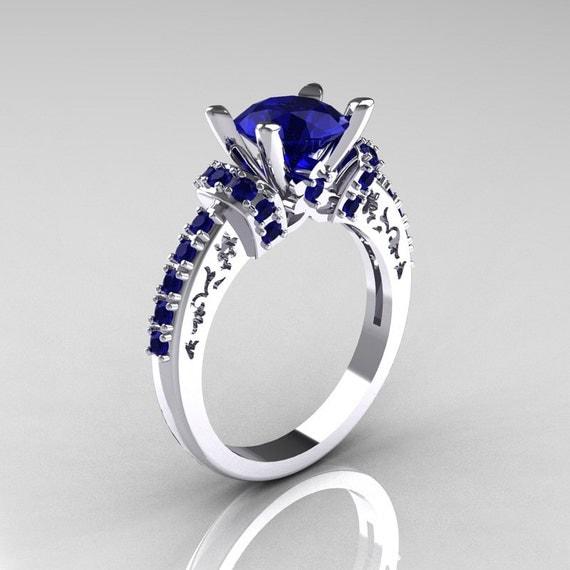 Modern armenian classic 14k white gold 1 5 carat blue sapphire
