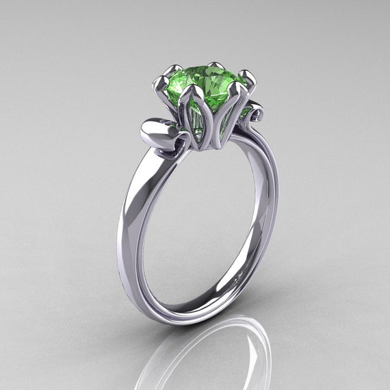 Modern Antique 14K White Gold 1.5 Carat Peridot Solitaire Engagement Ring AR127-14WGPE