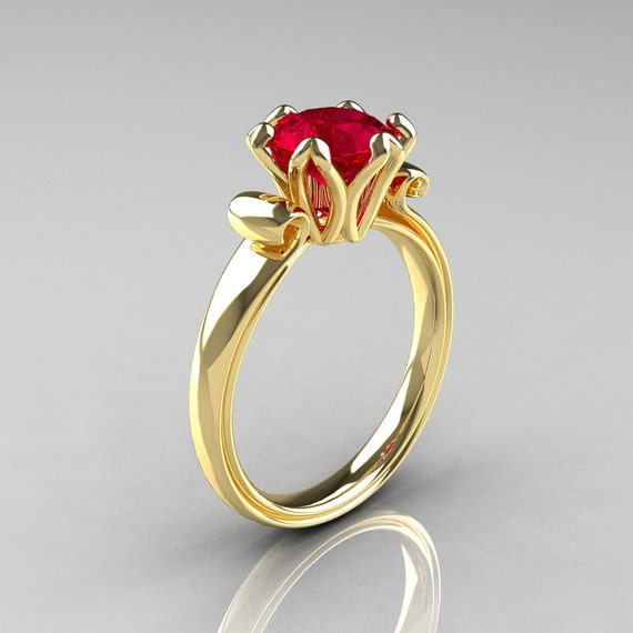 Modern Antique 18K Yellow Gold 1 5 Carat Ruby Solitaire