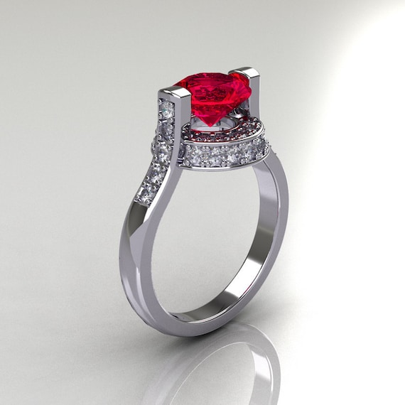Italian Bridal 14K White Gold 1 5 Carat Ruby Diamond Wedding