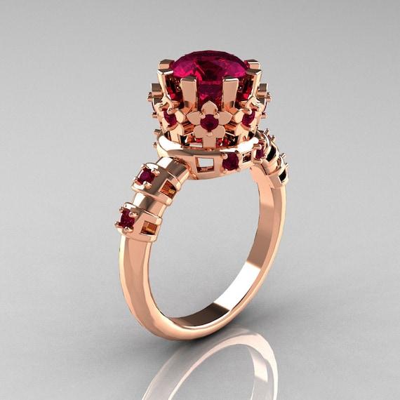 10 000 Up Diamond: Modern Vintage 10K Pink Gold 1.5 Carat Rhodolite Garnet