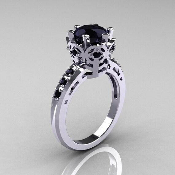 Items similar to Modern Classic 10K White Gold 1 5 Carat Black Diamond Crown