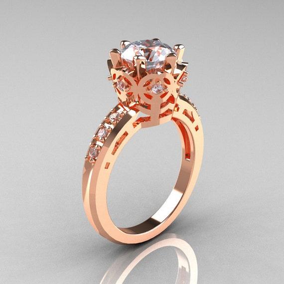 Modern Classic 10K Pink Gold 1.5 Carat CZ Diamond Crown Engagement Ring AR128-10KPGCZD