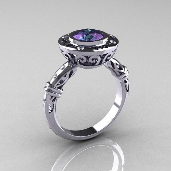 Modern Antique 10K White Gold 1.0 Carat Round Alexandrite Diamond Designer Engagement Ring RR131-10KWGDAL