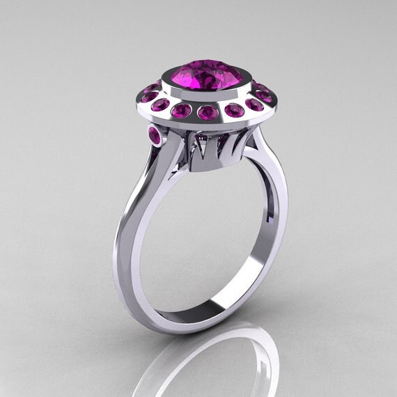 Items similar to Classic 10K White Gold 1 0 Carat Amethyst Bridal Engagement