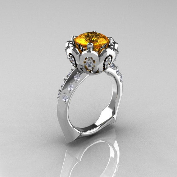 Items similar to Classic 10K White Gold 3 0 Carat Yellow Citrine Diamond Gree