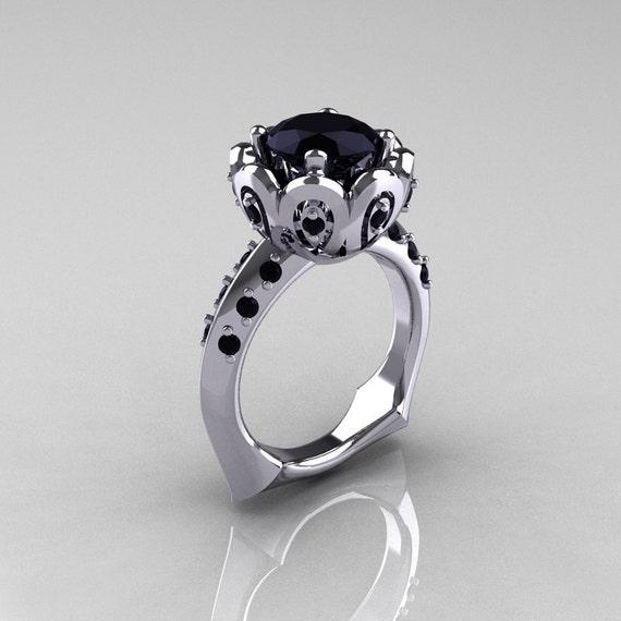 Classic 950 Platinum 3.0 Carat Black Diamond Greek Galatea Bridal Wedding Ring AR114-PLATBDD