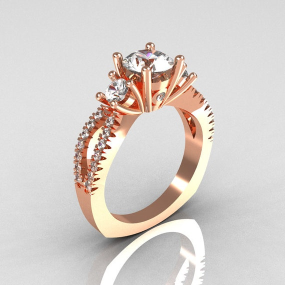 Modern French Bridal 18K Rose Gold Three Stone 1.0 Carat Zircon Accent Diamond Engagement Ring R140-18RGDZ