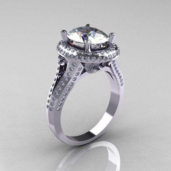 Items similar to French Bridal 10K White Gold 2 5 Carat Oval White Sapphire D