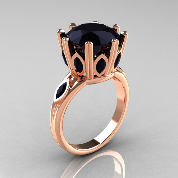 Classic 18K Pink Gold Marquise and 5.0 CT Round  Black Diamond Solitaire Ring R160-18KPGBDD