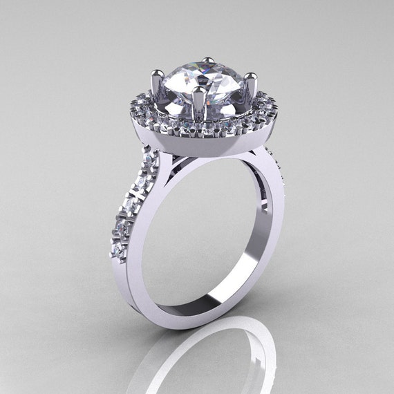 Items similar to Classic 18K White Gold 1 5 Carat Cubic Zirconia Diamond Soli
